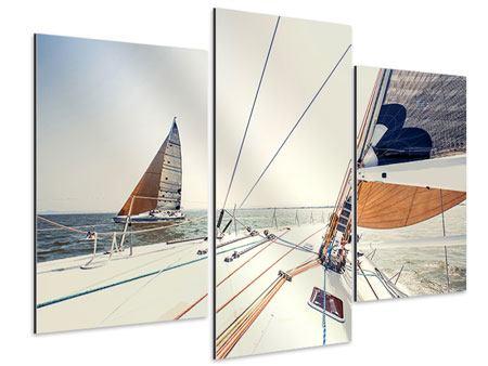 Aluminiumbild 3-teilig modern Segelyacht