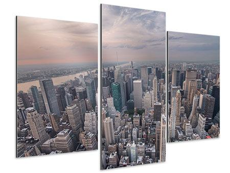 Aluminiumbild 3-teilig modern Skyline Blick über Manhattan