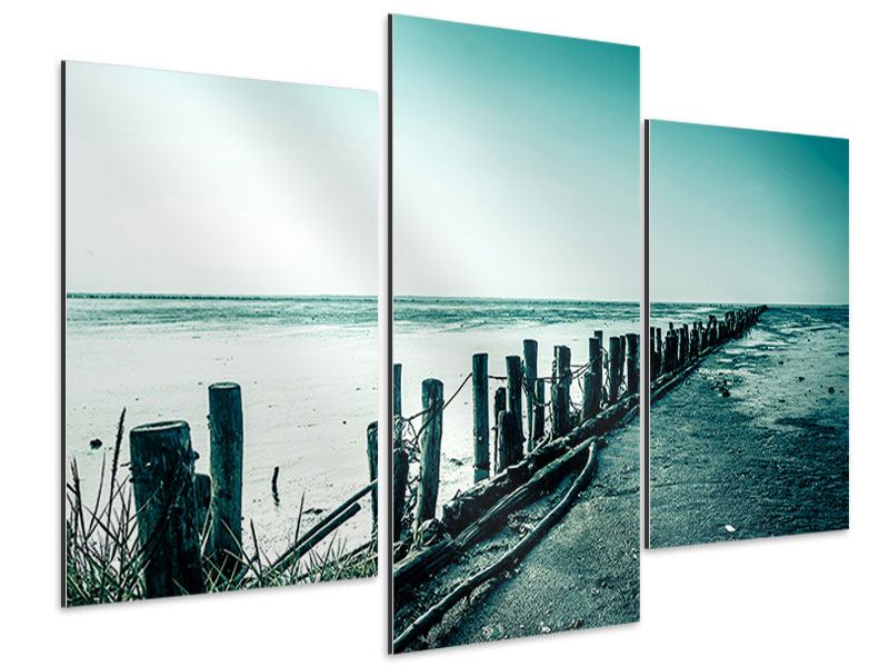 Aluminiumbild 3-teilig modern Das Wattenmeer