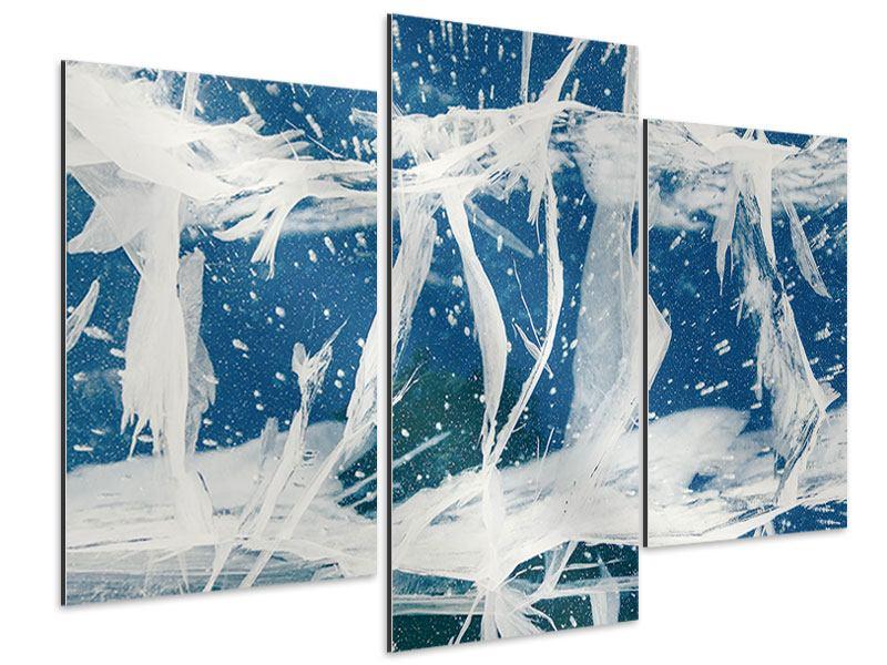 Aluminiumbild 3-teilig modern Eiskristalle