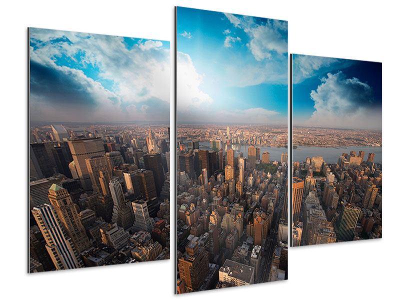 Aluminiumbild 3-teilig modern Skyline Über den Dächern von Manhattan