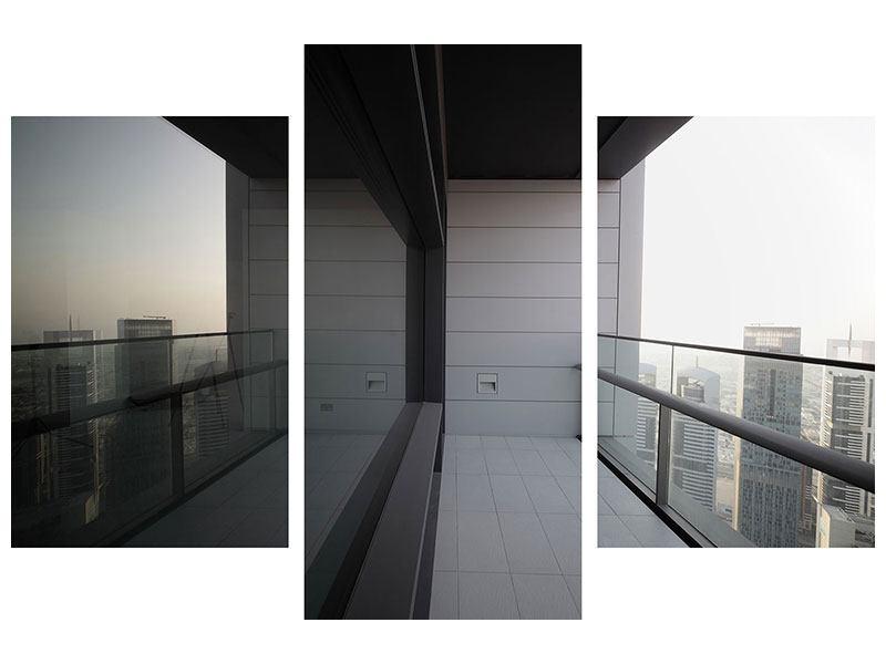 Aluminiumbild 3-teilig modern Balkon in Dubai