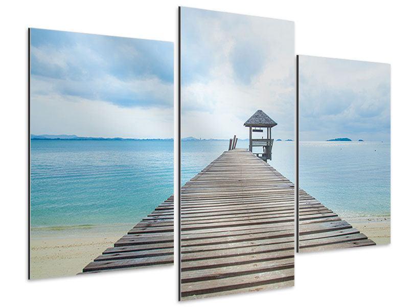 Aluminiumbild 3-teilig modern Ozean-Steg
