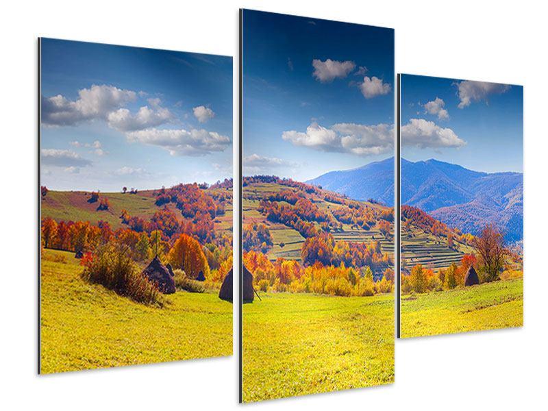 Aluminiumbild 3-teilig modern Herbstliche Berglandschaft