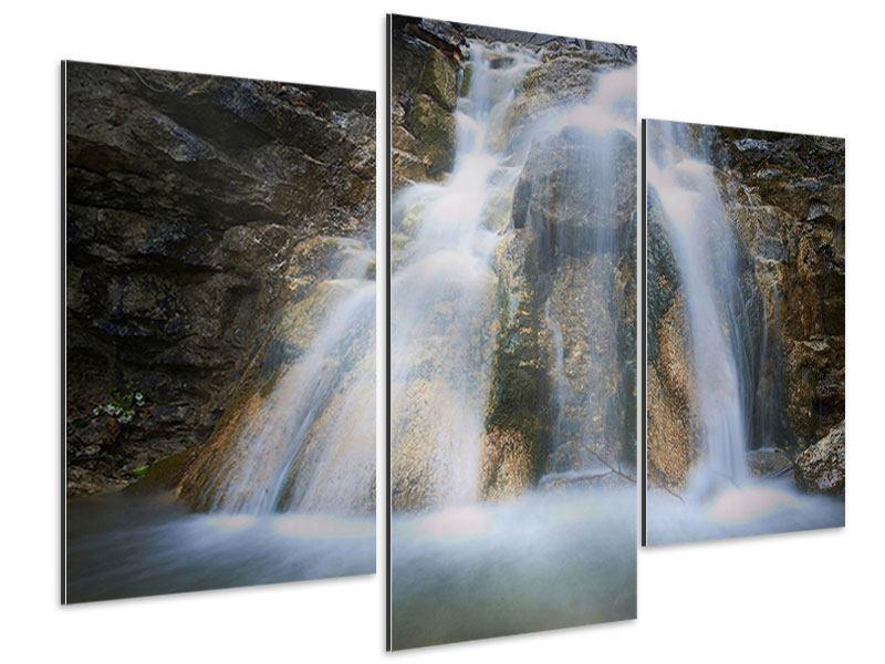 Aluminiumbild 3-teilig modern Imposanter Wasserfall