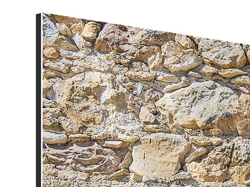 Aluminiumbild 3-teilig modern Sandsteinmauer
