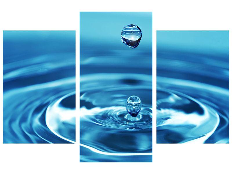 Aluminiumbild 3-teilig modern Der Wassertropfen