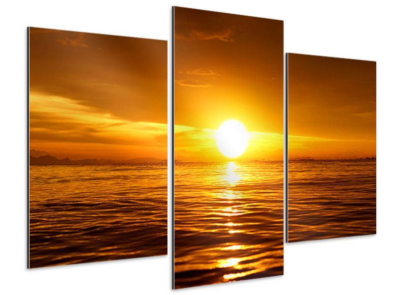 Aluminiumbild 3-teilig modern Glühender Sonnenuntergang am Wasser