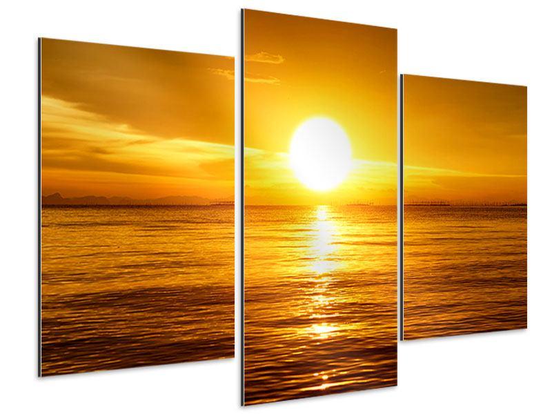 Aluminiumbild 3-teilig modern Traumhafter Sonnenuntergang