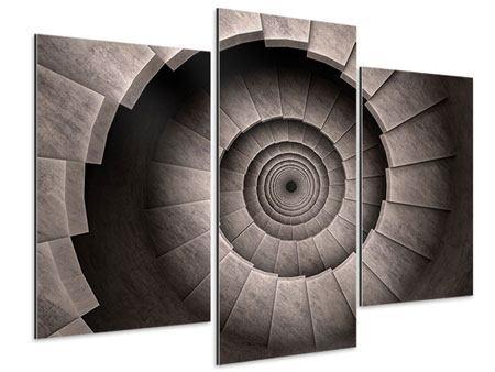 Aluminiumbild 3-teilig modern Steinwendeltreppe