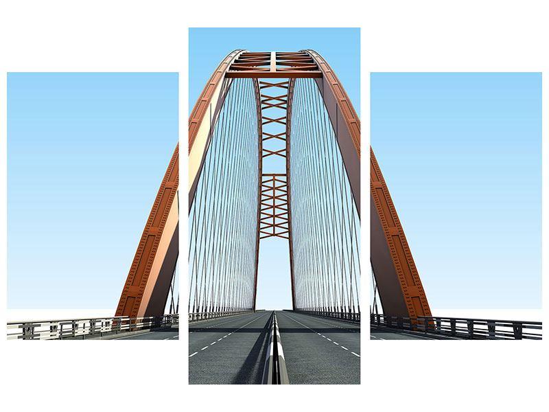 Aluminiumbild 3-teilig modern Brückenpanorama