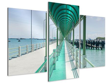 Aluminiumbild 3-teilig modern Die Brücke am Meer