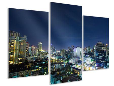 Aluminiumbild 3-teilig modern Skyline Nachts in Bangkok