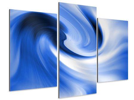 Aluminiumbild 3-teilig modern Abstrakte blaue Welle