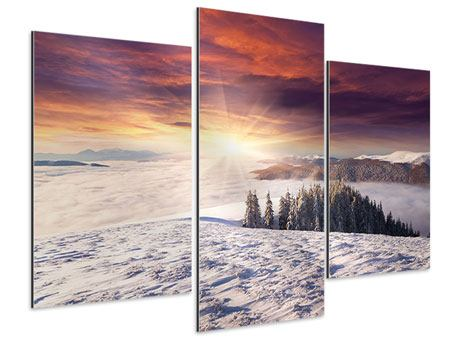 Aluminiumbild 3-teilig modern Sonnenaufgang Winterlandschaft