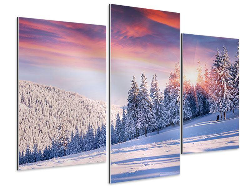 Aluminiumbild 3-teilig modern Winterlandschaft