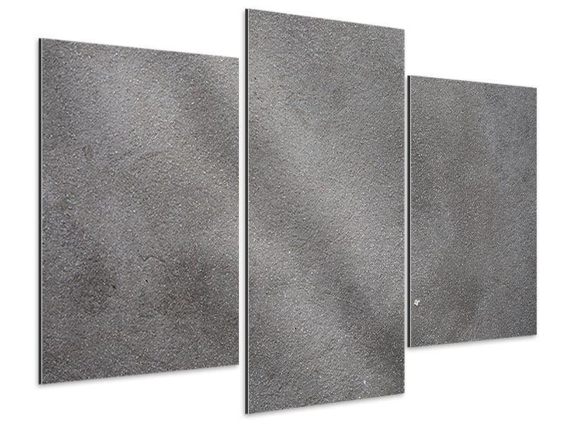 Aluminiumbild 3-teilig modern Beton in Dunkelgrau