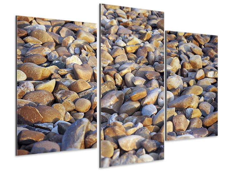 Aluminiumbild 3-teilig modern Strandsteine