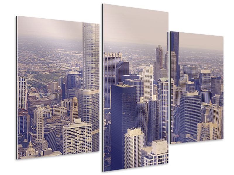 Aluminiumbild 3-teilig modern Skyline Chicago in Sepia