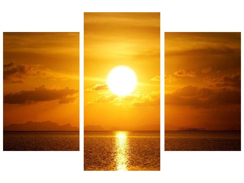 Aluminiumbild 3-teilig modern Sonnenuntergang See