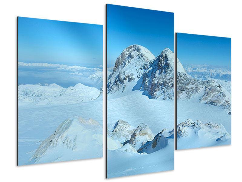 Aluminiumbild 3-teilig modern Über den Wolken