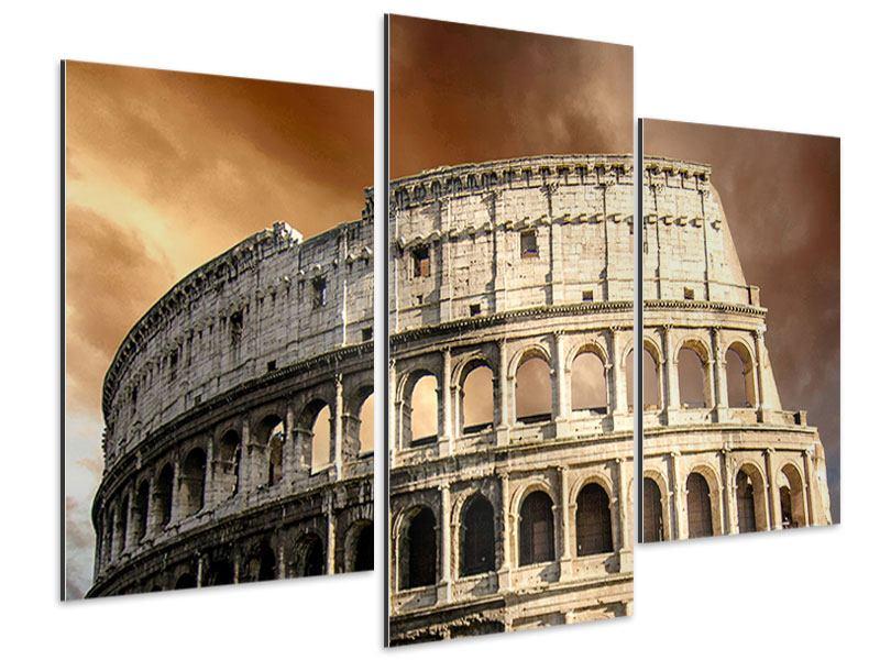 Aluminiumbild 3-teilig modern Kolosseum Rom