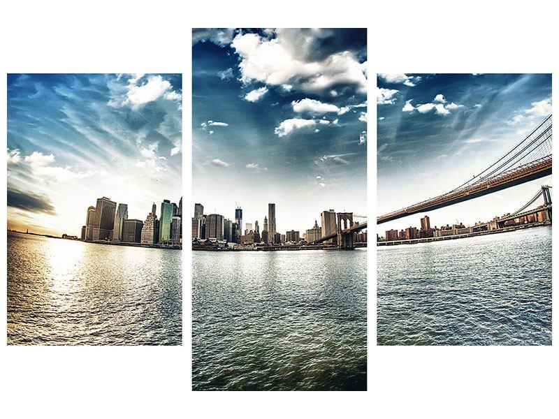 Aluminiumbild 3-teilig modern Brooklyn Bridge From The Other Side