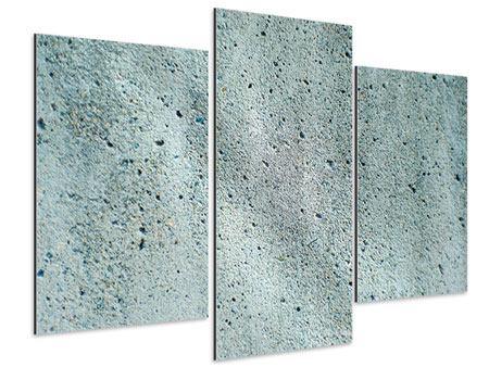 Aluminiumbild 3-teilig modern Beton in Grau