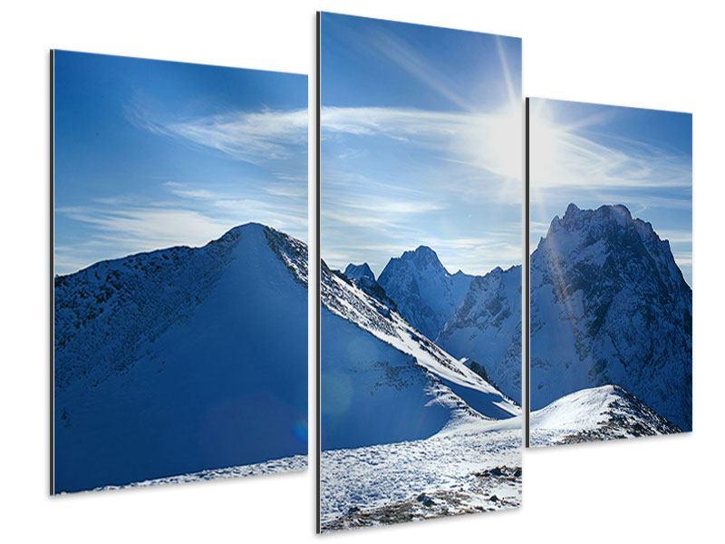 Aluminiumbild 3-teilig modern Der Berg im Schnee
