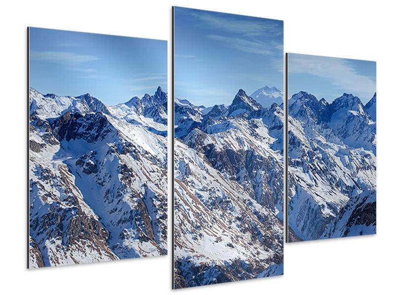 Aluminiumbild 3-teilig modern Gipfelspitzen