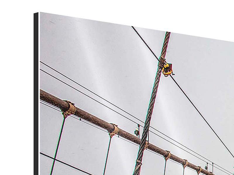 Aluminiumbild 3-teilig modern Auf der Brooklyn Bridge