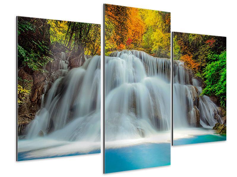 Aluminiumbild 3-teilig modern Fallendes Gewässer