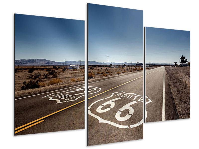 Aluminiumbild 3-teilig modern Route 66
