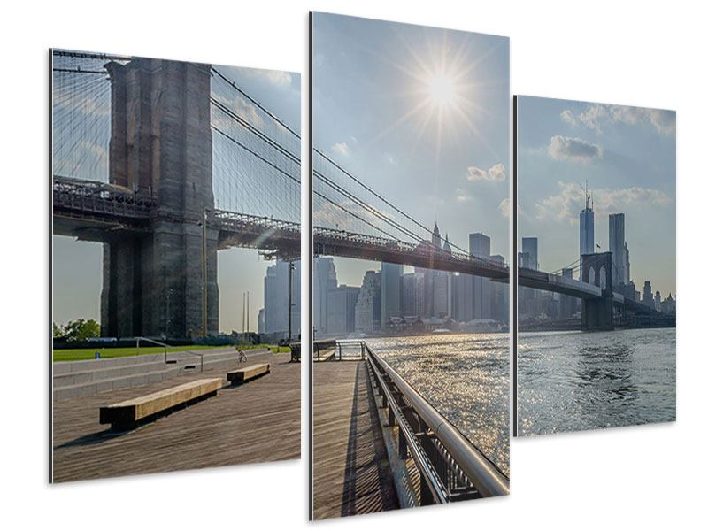 Aluminiumbild 3-teilig modern Brooklyn Bridge