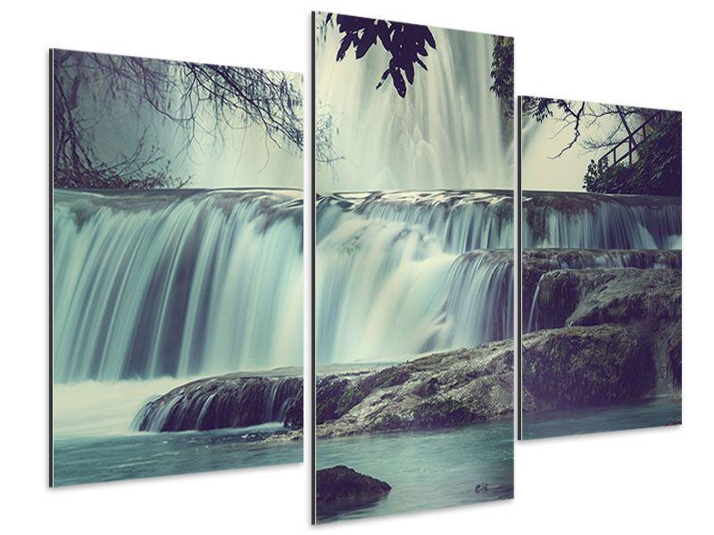 Aluminiumbild 3-teilig modern Wasserfall Mexiko