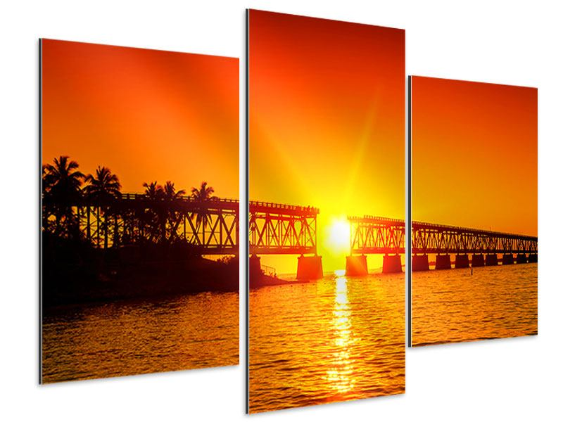 Aluminiumbild 3-teilig modern Sonnenuntergang an der Brücke