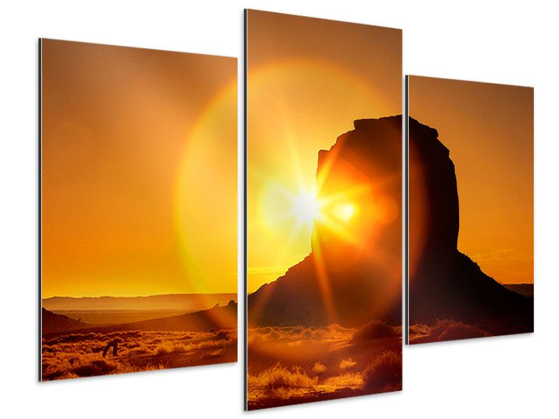 Aluminiumbild 3-teilig modern Sonnenuntergang Monument Valley