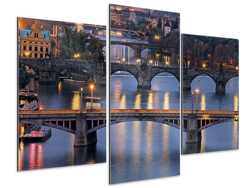 Aluminiumbild 3-teilig modern Brücken in Prag