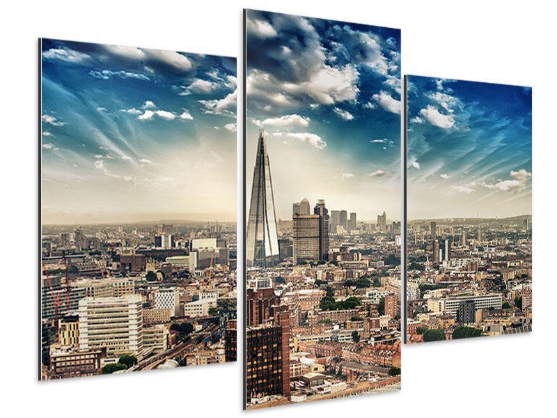Aluminiumbild 3-teilig modern Skyline Über den Dächern von London