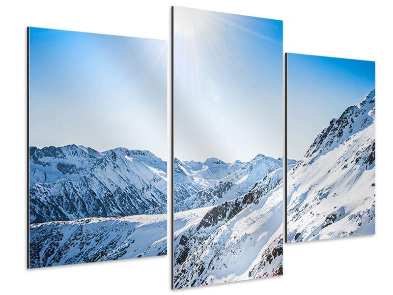 Aluminiumbild 3-teilig modern Bergpanorama im Schnee