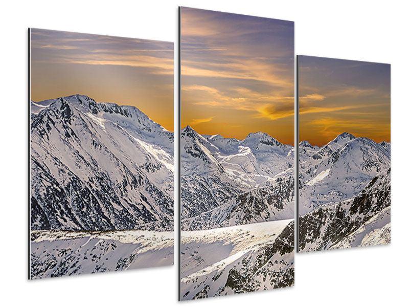 Aluminiumbild 3-teilig modern Sonnenuntergang in den Bergen