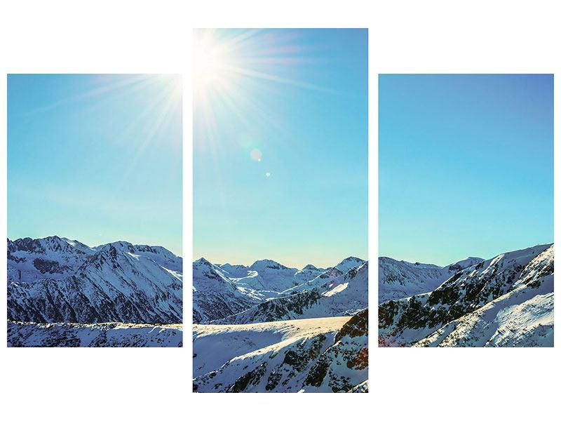 Aluminiumbild 3-teilig modern Sonnige Berggipfel im Schnee