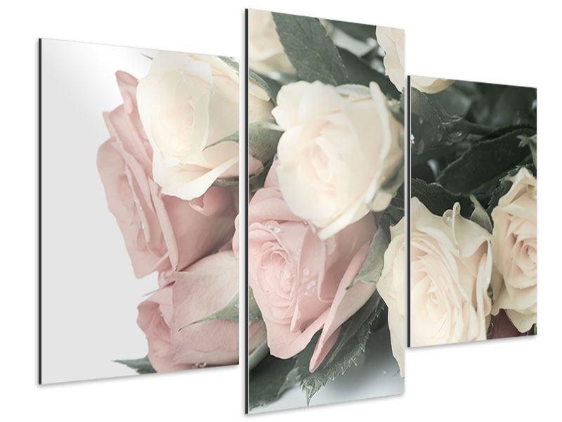 Aluminiumbild 3-teilig modern Rosenromantik