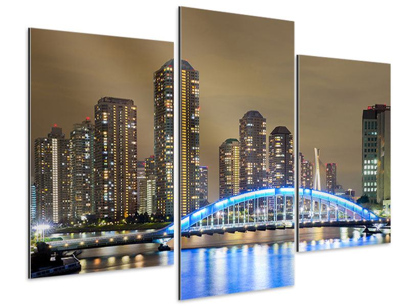 Aluminiumbild 3-teilig modern Skyline Tokio in der Nacht