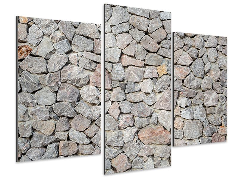 Aluminiumbild 3-teilig modern Grunge-Stil Mauer