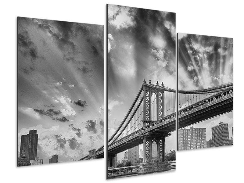 Aluminiumbild 3-teilig modern Manhattan Bridge