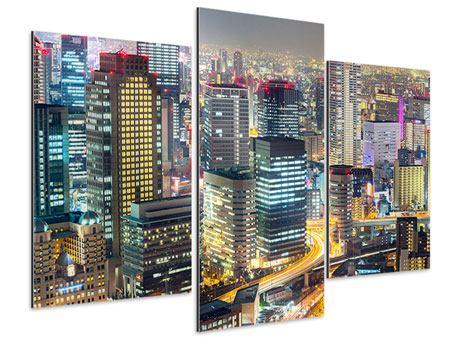 Aluminiumbild 3-teilig modern Skyline Osaka im Lichtermeer