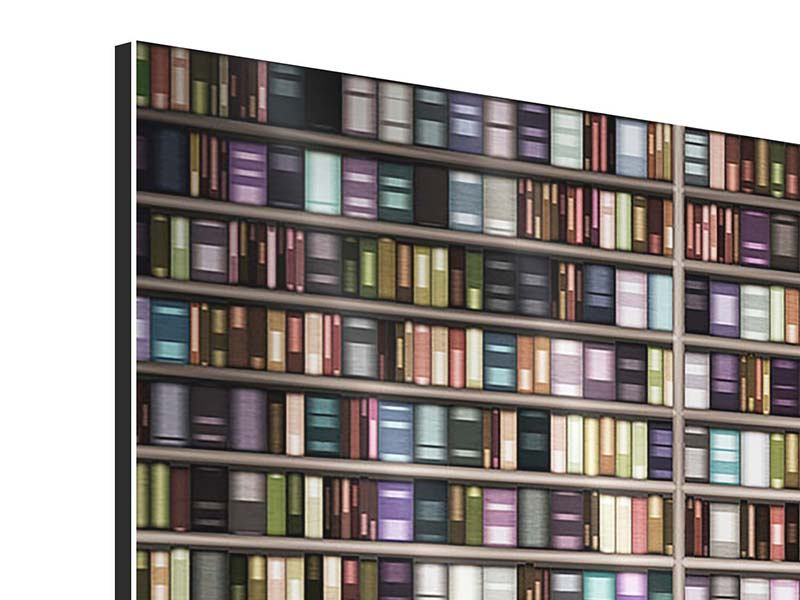 Aluminiumbild 3-teilig modern Bücherregal