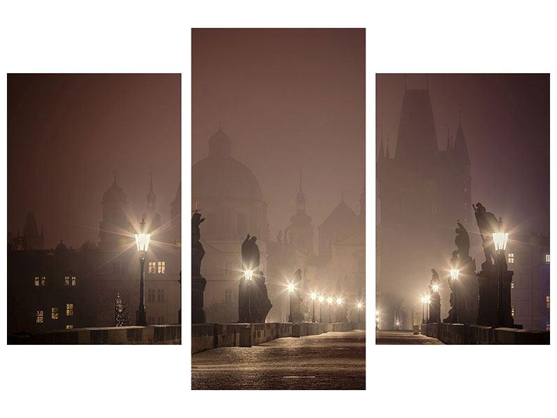 Aluminiumbild 3-teilig modern Die Karlsbrücke bei Nacht