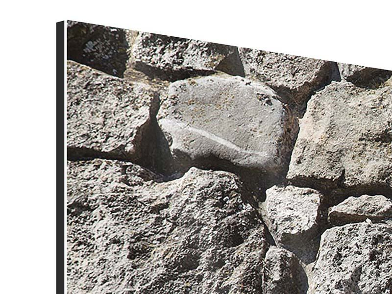 Aluminiumbild 3-teilig modern Grosses Mauerwerk